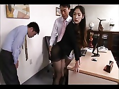 Asian Black Brunette Nylon Secretary Seduced